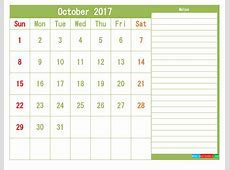 October 2017 Printable Calendar Templates 1 month in 1