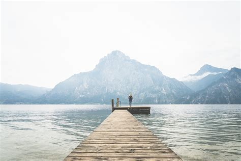Free Picture by Standing Alone On A Large Wooden Pier On A Lake Free