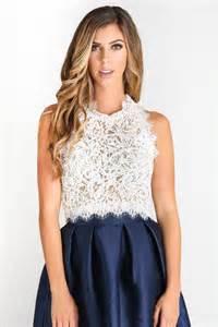 Leighton White Lace Sleeveless Top