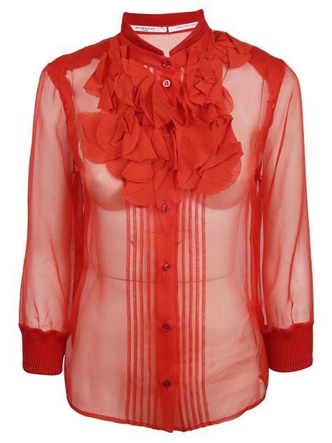 blouses and dresses givenchy givenchy ruffle silk organza blouse