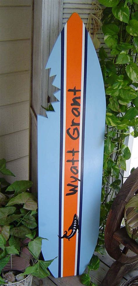 4ft personalized shark surfboard kids wall art beach sign