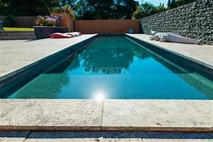 piscine en pierre naturelle travertin gris carrelage et With carrelage plage piscine gris 5 piscine