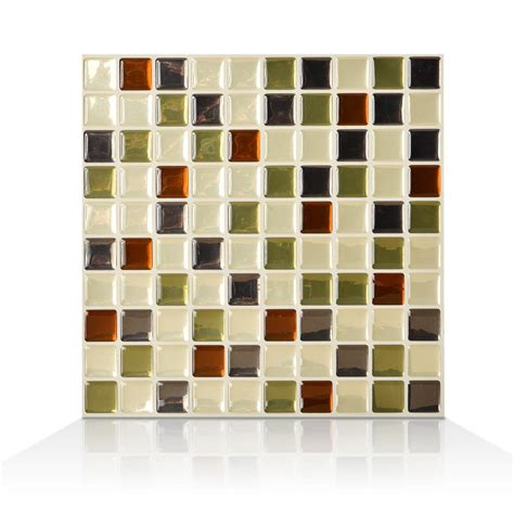 decorative wall tiles for kitchen backsplash smart tiles 9 85 in x 9 85 in adhesive decorative wall tile backsplash idaho in grey green