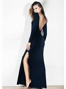 robe longue noire dos nu ceinturee gigi marpraia With robe longue décolleté dos