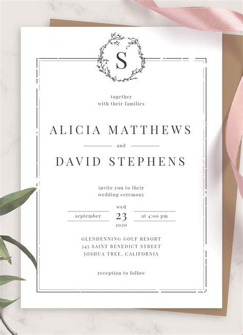 Download Printable Classic Formal Wedding Invitation