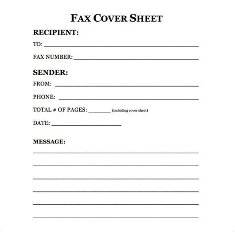 free fax cover sheet template format exle pdf printable