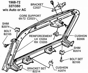 1968-72 327  350 Core Support - Diagram View