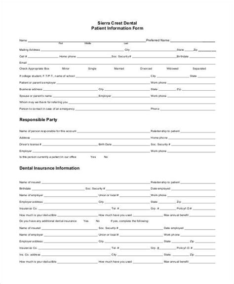 Free Patient Information Form Template by Sle Patient Information Forms 10 Free Documents In