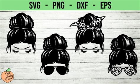 Silhouette studio standard (dxf and png); Messy Bun Mom Life svg cut files Files are as pictured No ...