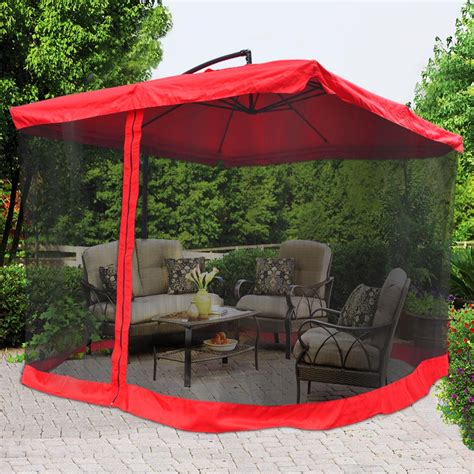 patio umbrella with netting 9ft patio offset umbrella w netting color