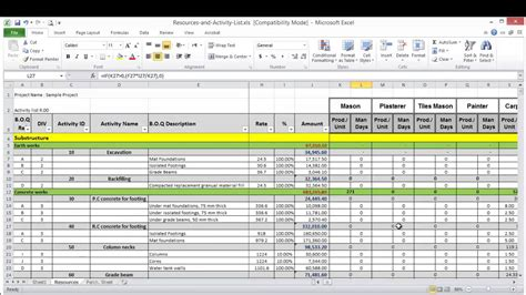 lesson  part  create resource loading sheet  excel