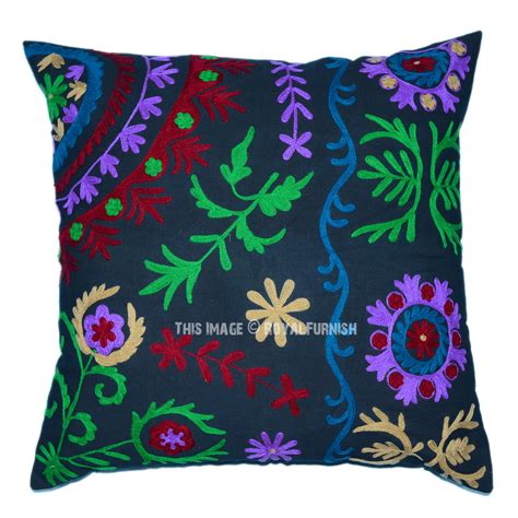 Throw Pillows by Black 24x24 Suzani Embroidered Throw Pillow Cover
