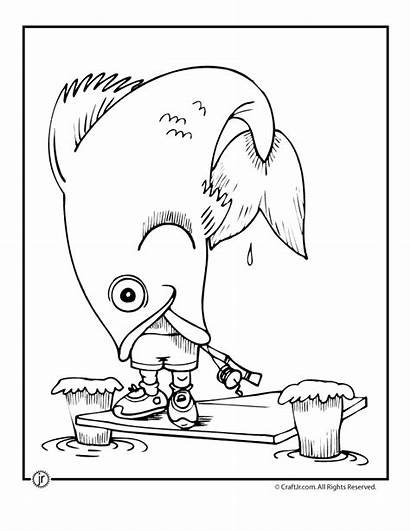 Coloring Pages Camping Fish Funny Fishing Adult