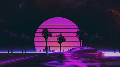 Sunset Neon Outrun Loop Animation Moving 80s