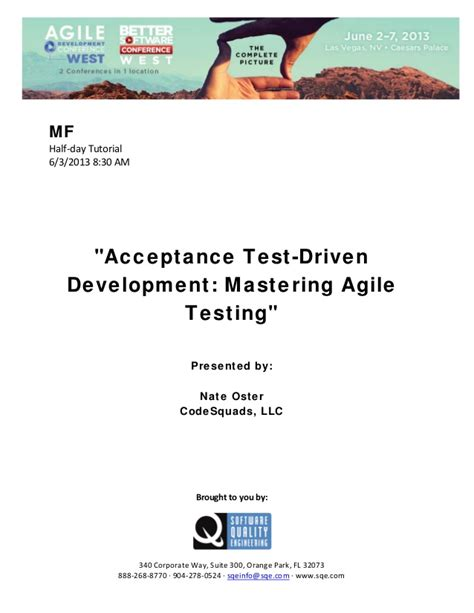Test Driven Development Agile Resume by Acceptance Test Driven Development Mastering Agile Testing