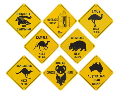 Australian Road Signs Collection Stock Photo