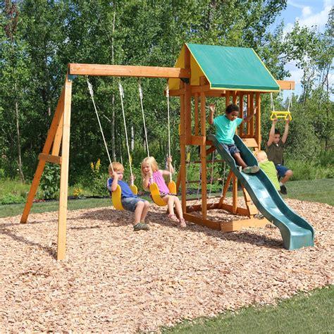 backyard swing set big backyard meadowvale ii wooden play set lowe s canada