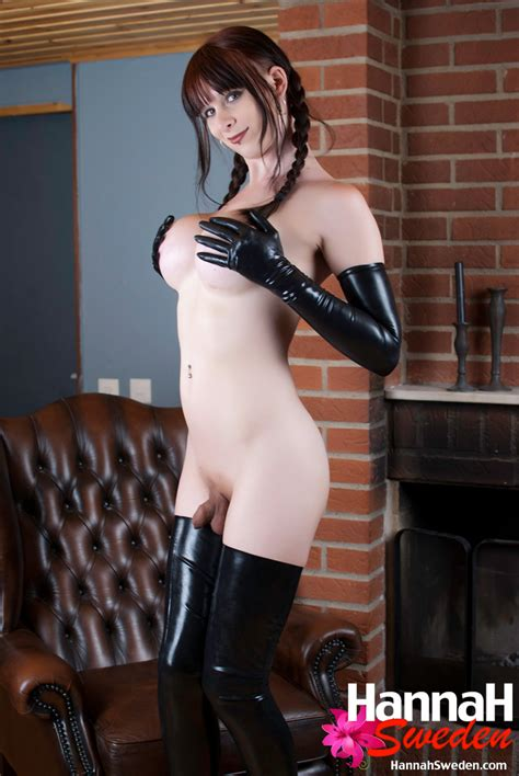 sexy european tranny with awesome tits and a small penis in latex and stockings shemaletubevideos