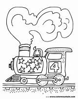 Coloring Train Steam Engine Trains Activity Colormountain sketch template