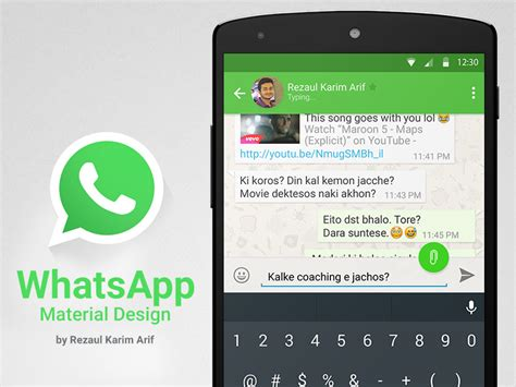 whatsapp on android whatsapp in material design by rezaul karim arif dribbble