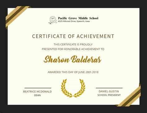 copy  elegant achievement certificate design template