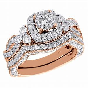 14k rose gold round cut diamond wedding bridal set antique for Diamond wedding ring settings