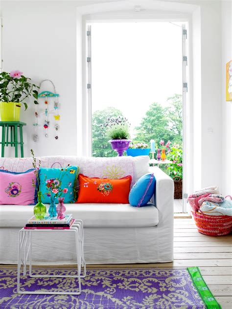 white sofa with colorful pillows fun and bright living room color ideas wrapping comfort