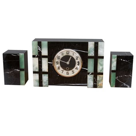 deco clocks deco mantle clock and garniture at 1stdibs