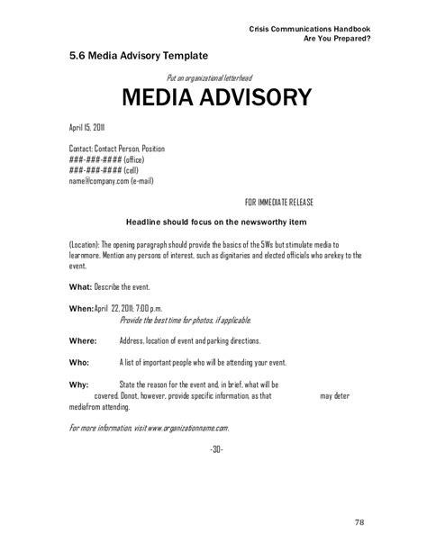 media advisory template crisis communications handbook