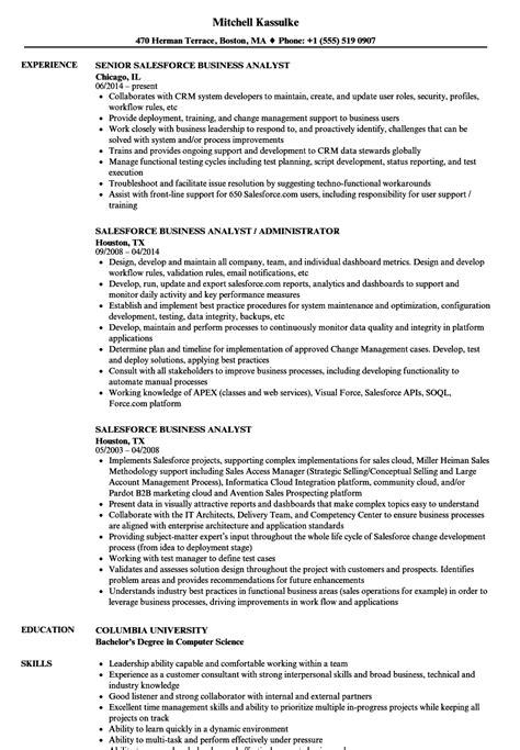 Salesforce Business Analyst Resume Samples | Velvet Jobs