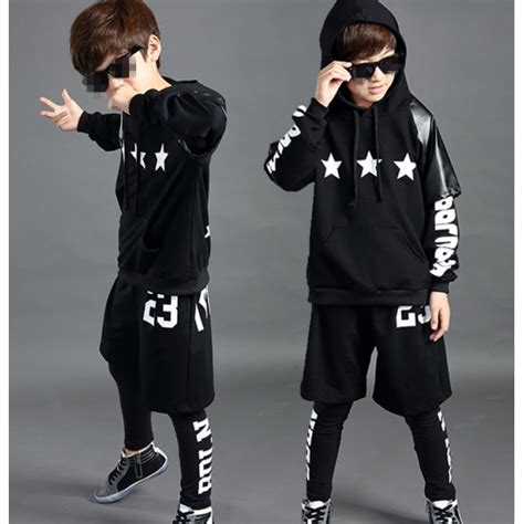 Leather black 3in1 boys kids children fashion long sleeves stage performance school play jazz ...
