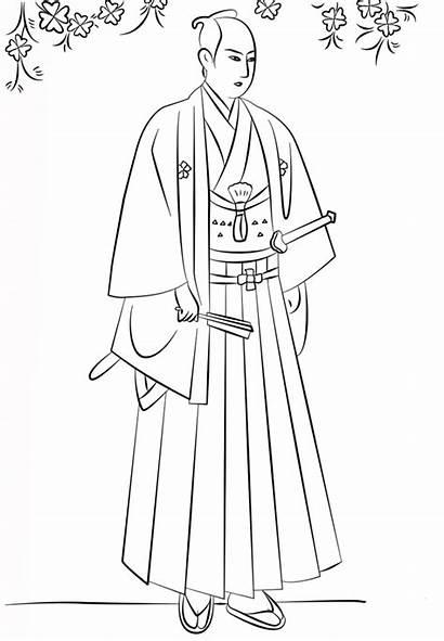 Samurai Coloring Japanese Anime Hakama Japan Dibujos