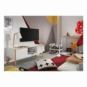 Meuble Tv Design Bois : meuble tv design bois laqu blanc 2 tiroirs hector by drawer ~ Melissatoandfro.com Idées de Décoration