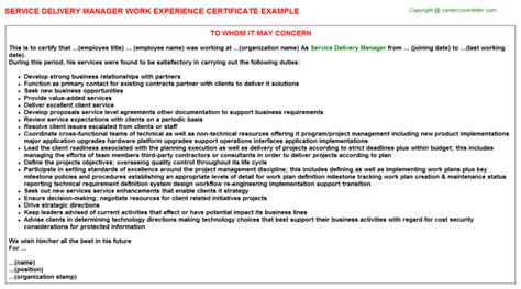 Delivery Manager Resume Doc by Service Delivery Manager Description