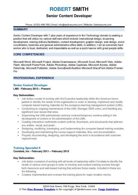 Employee Resume Exles by Content Developer Description The Best
