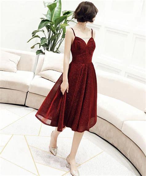 Simple v neck tulle sequin short prom dress, burgundy ...