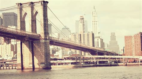 Brooklyn bridge cityscapes vintage wallpaper