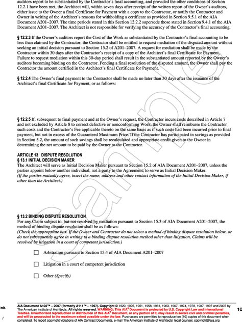 standard form of agreement between owner and contractor appendix h aia document a102 2007 standard form of
