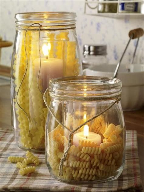 Glass Candle Holders Noodles Italian Themed Dinner by Decoration Fill A Jar With Dried Pasta