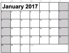 calendar january 2017 printable one page calendar