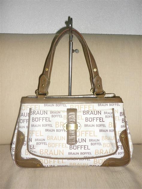 yus branded bag authentic braun buffel leather white handbag