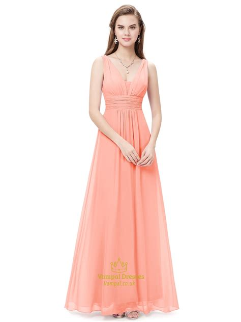 pink fit and flare dress v neck chiffon bridesmaid dresses for