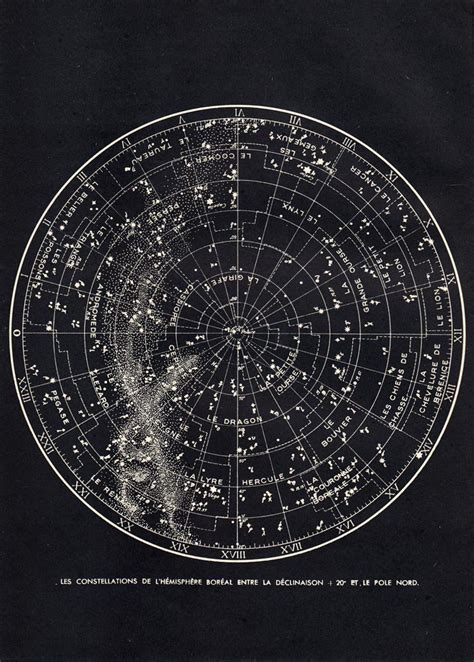 star chart northern sky astronomy print  constellations