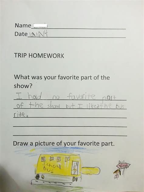My 6 Year Old Cousin's Homework Answer After Seeing A Play