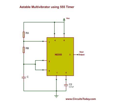 Astable Multivibrator Using Timer