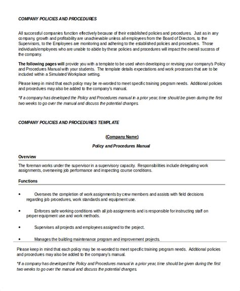 Work Procedures Template by Policy Template 7 Free Word Pdf Documents