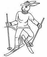 Skiing Coloring Pages Rabbit Print Skier Clipart Printactivities Clip Comments Library Line sketch template