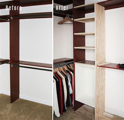 master closet adding shelves and drawers