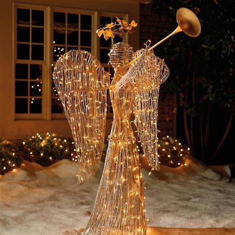 lighted rattan trumpet angel frontgate