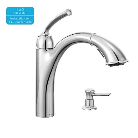 moen kitchen faucet with soap dispenser moen sullivan 1 handle reflex pullout kitchen faucet with soap dispenser chrome finish the